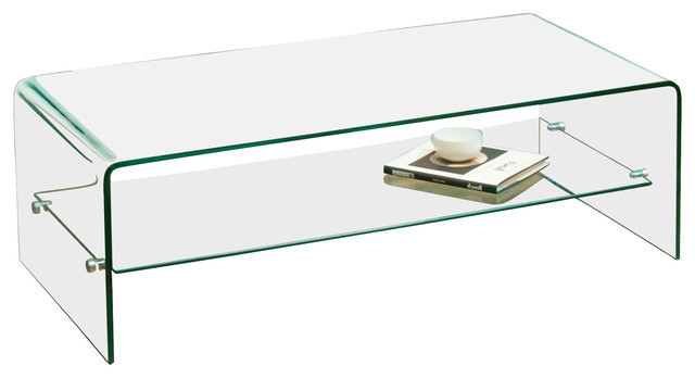 Charlize Glass Coffee Table Contemporary Coffee Tables By - Round glass coffee table with shelf