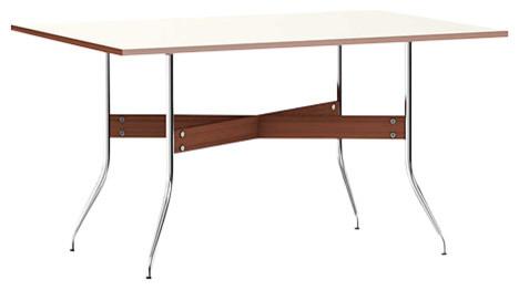 Nelson Swag Leg Rectangular Dining Table By Herman Miller, White Laminate