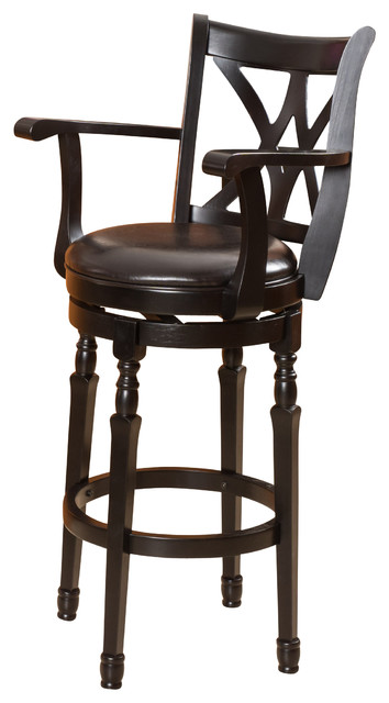 Montreal Black Finish Swivel Bar Stool.