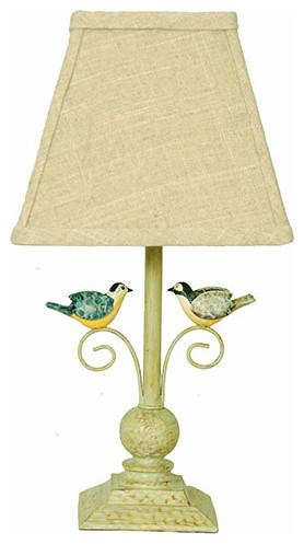 AHS Lighting Out On A Limb Bird Accent Lamp Natural Linen Shade