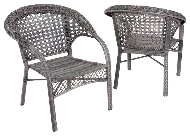 Malibu Outdoor Wicker Dining Chairs, Set Of 2, Gray Contemporary Outdoor  Dining