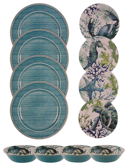Sea Life Melamine Dinnerware 12 Piece Set Beach Style Sets By American Glware