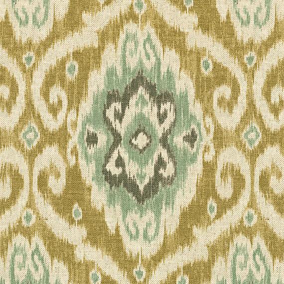 Tan And Aqua Ikat Medallion Fabric