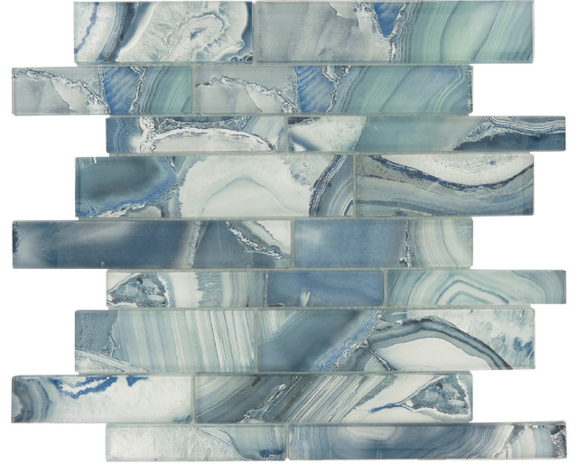 "11.75""x11.75"" Magical Forest Linear Glossy Glass Tile, Periwinkle Dust Blue"