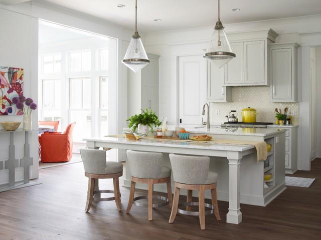 beach style galley medium tone wood floor open concept kitchen idea in charleston with an undermount