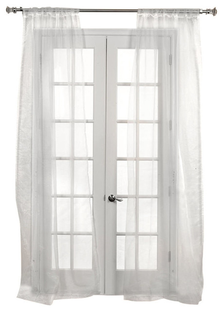 Off White Solid Fauxorganza Curtains, Set Of 2, 50x120.