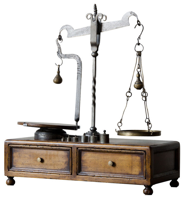 Classic large antique style scale on stand traditional for Traditional kitchen scales