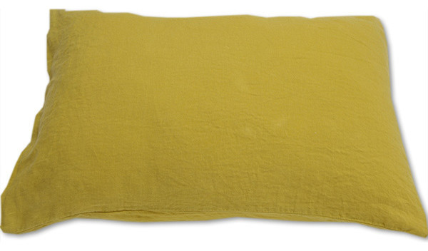 Stone Washed Bed Linen Pillow Case, Citrine, King