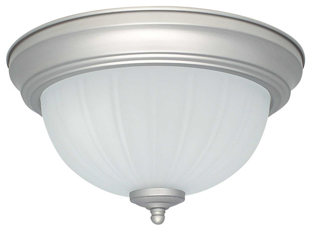 2-Light Flush Mount-Satin Nickel.