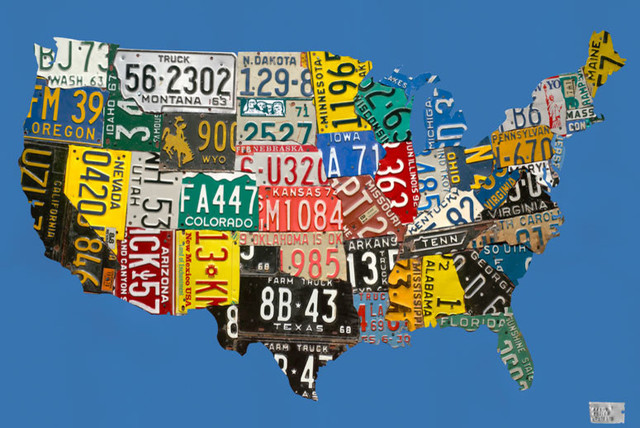 License Plate USA Map\