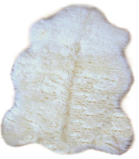 Premium Faux Fur Sheepskin Accent Rug Contemporary