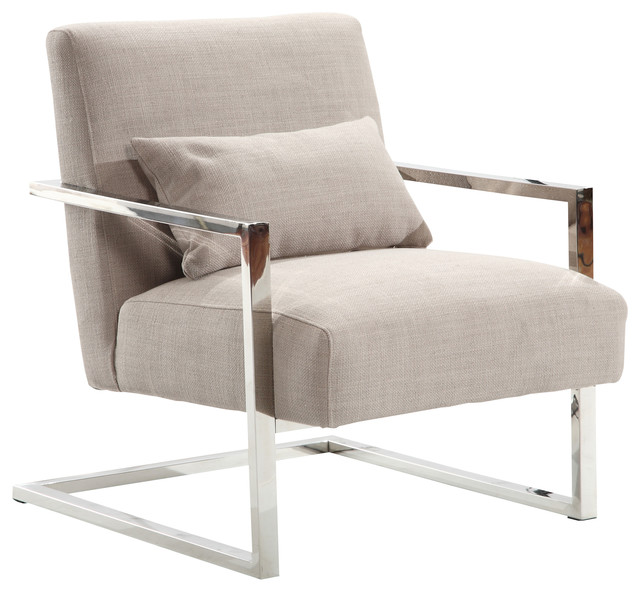 Superieur Skyline Modern Accent Chair, Gray Linen And Steel