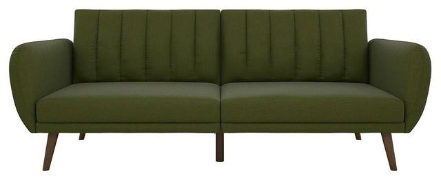 Green Linen Upholstered Futon Sofa Bed