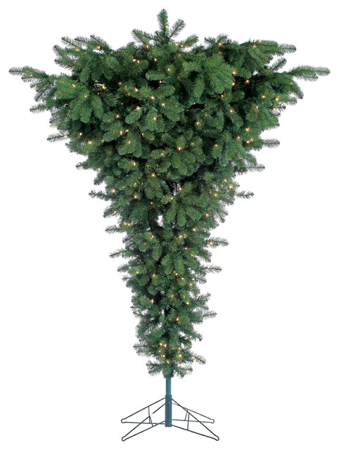 Pre-Lit Upside Down Floor Tree With 600 clear lights, 7.5 Foot