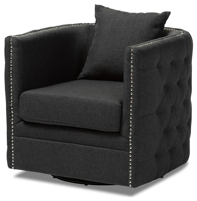 Superb Baxton Studio Micah Fabric Upholstered Tufted Swivel Chair Gray Bralicious Painted Fabric Chair Ideas Braliciousco
