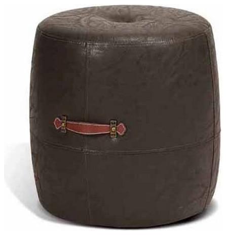Faux Leather Drum Stool, Vintage Java by ARTEFAC
