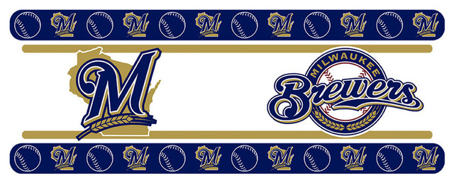 MLB Milwaukee Brewers Wall Border Self Stick Baseball Contemporary Kids