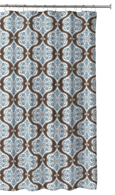 Blue Brown Grey Embossed Fabric Shower Curtain Floral