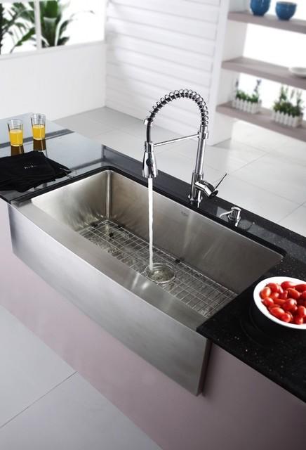 Kraus KHF200 36 KPF1612 KSD30CH Farmhouse Sink With Faucet Soap Dispens
