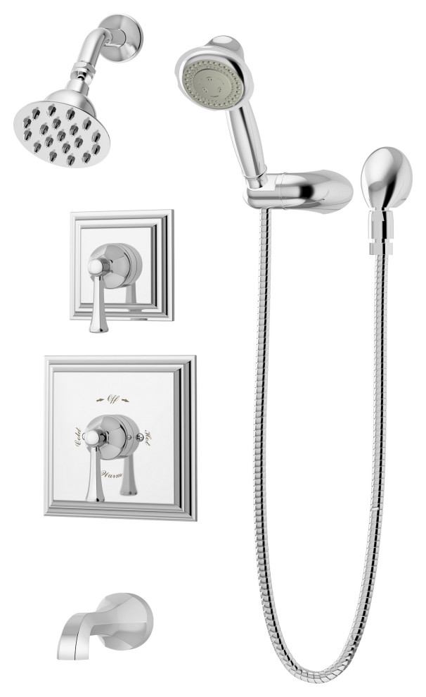 Canterbury 2 Handle Tub And Shower Faucet Trim With Hand Shower Contemporary Tub And Shower Faucet Sets By Symmons Houzz