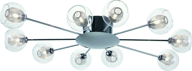 Estelle 10 Ceiling Lighting, Clear, Silver.