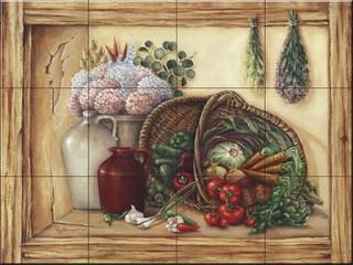 17 x 12.75 Basket Fruit Flowers Mural Ceramic Backsplash Tile #89