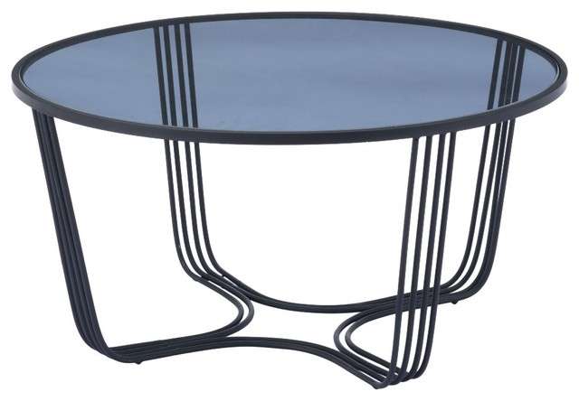 Modern Contemporary Round Sofa Coffee Table Black Glass Steel Transitional Coffee Tables By House Bound