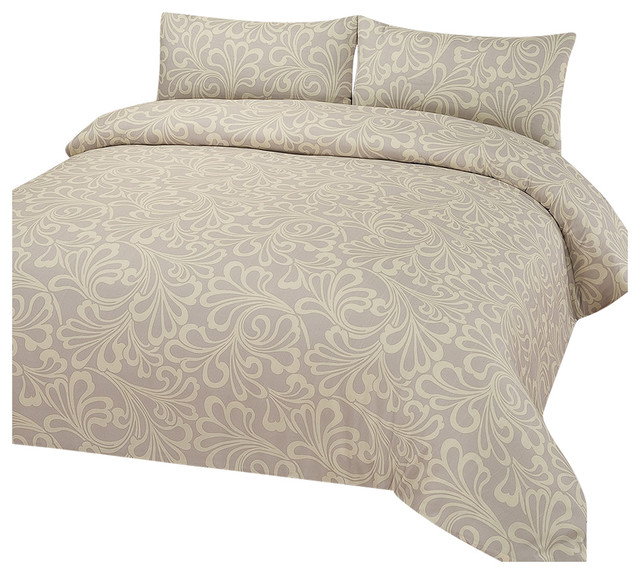 Damask Bedding Set, Duvet Cover With Pillowcases, Cream, Natural, Double