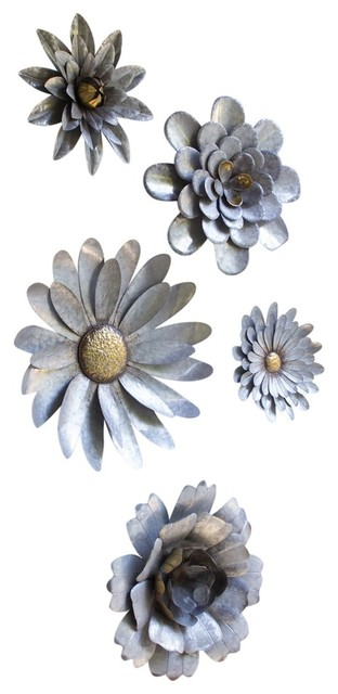 Metal Flower Wall Art metal flower wall hangings, 5-piece set - farmhouse - metal wall