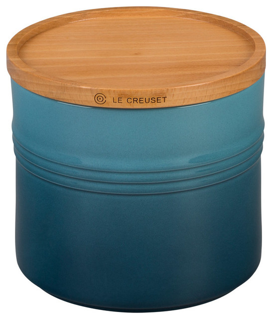 Le Creuset Stoneware 1 5 Quart Canister With Wood Lid Marine