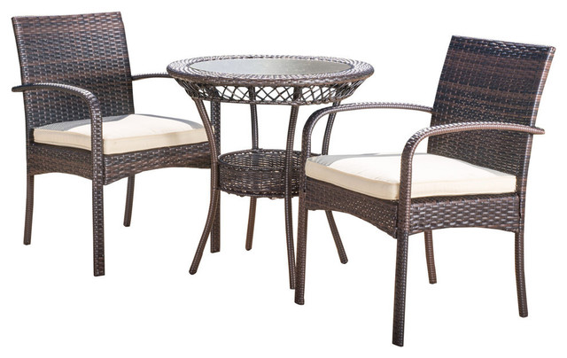 Outstanding Gdf Studio 3 Piece Meeker Outdoor Wicker Bistro With Cushions Set Onthecornerstone Fun Painted Chair Ideas Images Onthecornerstoneorg