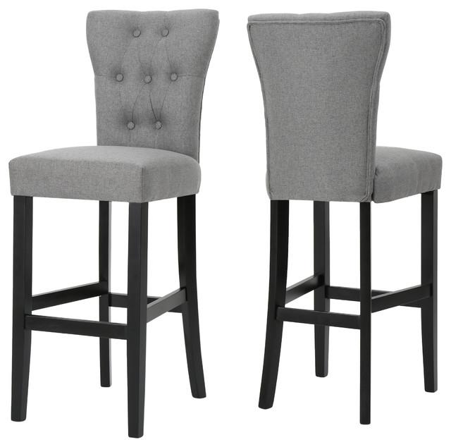 Padma Tufted Back Fabric Barstools Set Of 2 Gray