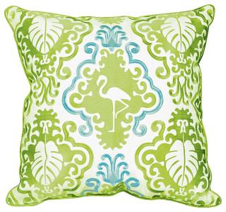Outdoor Sunbrella Embroidered Flamingo Pillow, Gingko Green