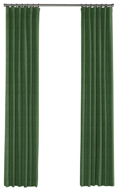 Dark Green Linen Curtain Single Panel Ring Top