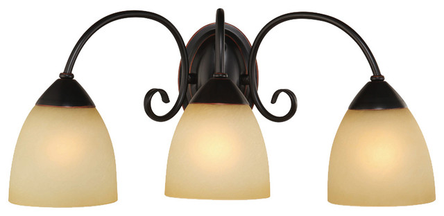 Oil rubbed bronze 3 light bathroom vanity wall fixture for Traditional bathroom vanity lights