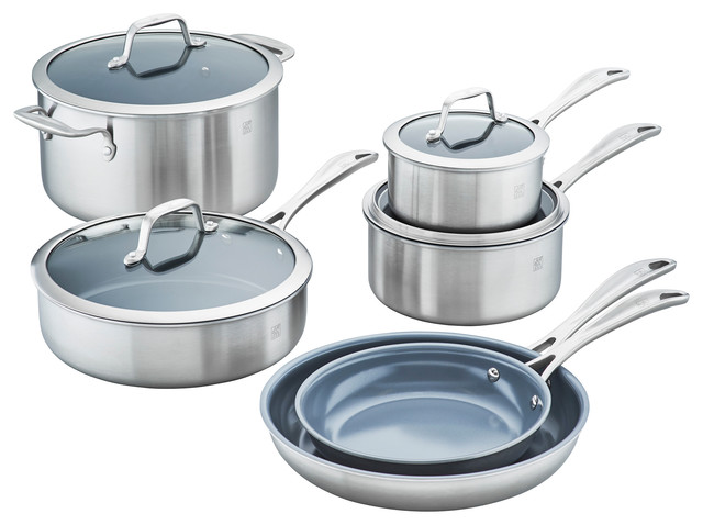 Zwilling Spirit 3-Ply 10-Piece Stainless Steel Ceramic Nonstick Cookware Set.