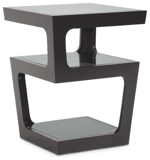 Clara Black Modern End Table With 3-Tiered Glass Shelves.