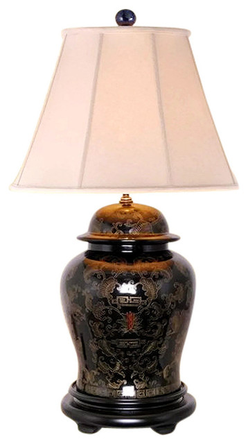 Asian Style Furnishing Chinese Black Lacquer Ginger Jar