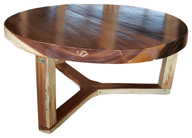 Suar Round Coffee Table Beach Style Coffee Tables By Chic Teak