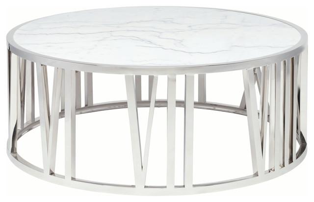 04897b4b5949b Roman Round White Marble Coffee Table