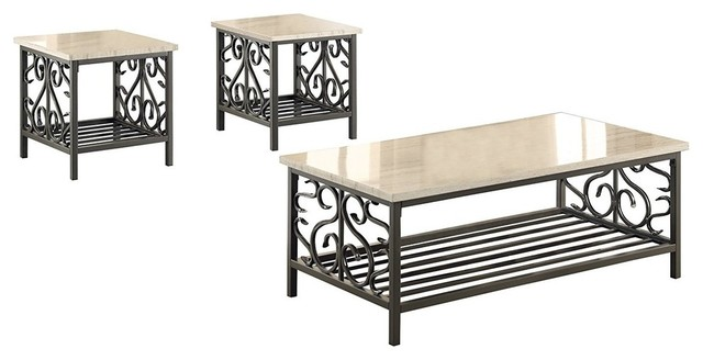 Modern 3 Piece Occasional Table Set With Metal Frame And Faux Marble Top Cream