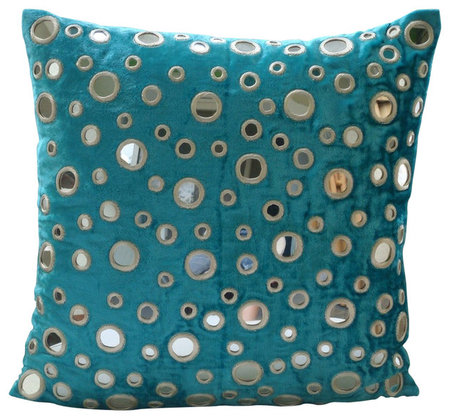 Modern Turquoise Pillows : Mirror Blue Velvet Cushion Covers, Aqua Reflections - Modern - Decorative Pillows - by The ...