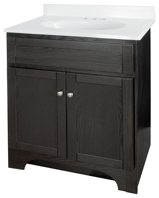 Columbia black bathroom vanity with cultured marble top for Marble top console sink