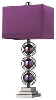 Alva Contemporary Table Lamp, Black Nickel and Purple