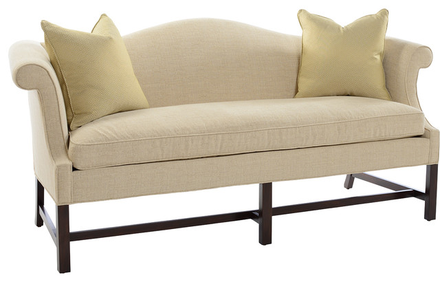 Southwood plain leg camelback sofa for Traditional sofas with legs