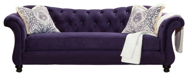Damask Purple Fabric Sofa Rolled Arm.