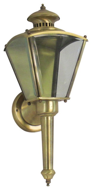Antique Brass Outdoor Porch Wall Mount Sconce Light Fixture w Beveled Glass