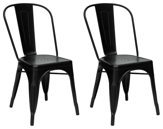 Industrial Style Metal Café Chair, Black, Set of 2