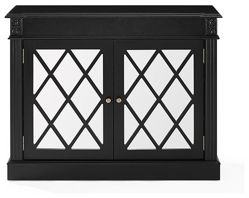 Rialto Mirrored Accent Table, Distressed Black