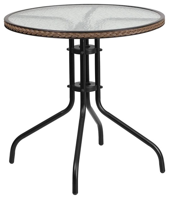 28&x27;&x27; Round Tempered Glass Metal Table With Dark Brown Rattan Edging.
